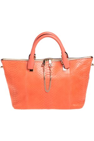 Chloé Chloé Orange Python and Leather Medium Baylee Tote