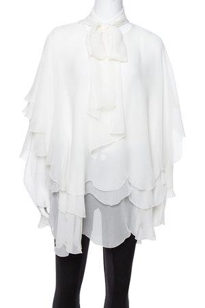 Oscar de la Renta Off White Silk Layered Tie Detail Blouse L