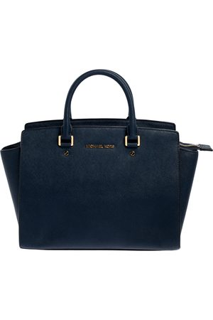 Michael Kors Navy Blue Leather Large Selma Satchel