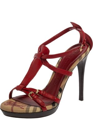 Burberry Red Leather Strappy Platform Peep Toe Sandals Size 38