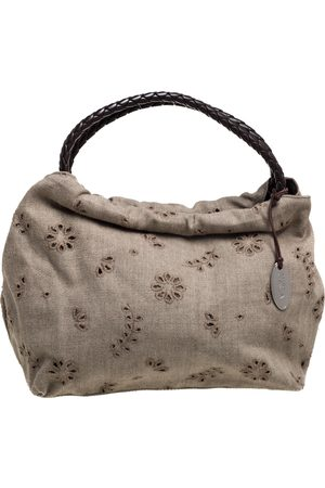 Furla Beige Canvas and Brown Leather Floral Cut Out Shoulder Bag