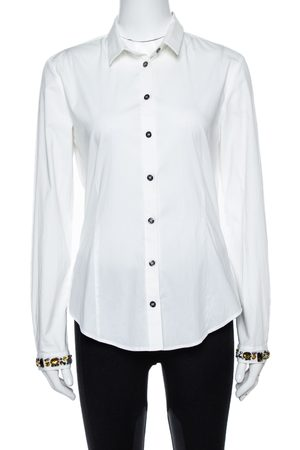 Burberry Brit White Cotton Jewel Embellished Cuff Long Sleeve Shirt M