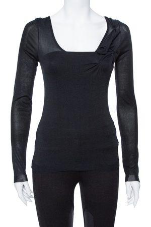 Dior Black Cotton & Silk Floral Detail Long Sleeve Top S