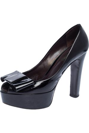 LOUIS VUITTON Amarante Monogram Vernis True Peep Toe Platform Pumps Size 37.5