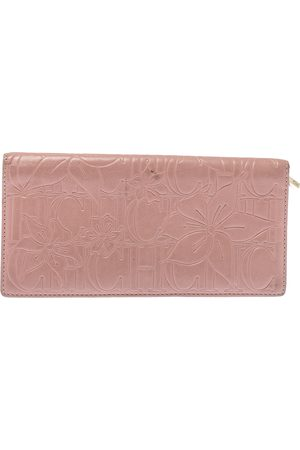 Carolina Herrera Pink Embossed Leather Continental Wallet