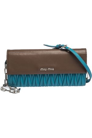 Miu Miu Blue/Brown Matelasee Leather Flap Wallet on Chain