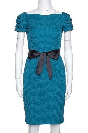 CH Carolina Herrera Teal Houndstooth Pattern Embossed Sheath Dress S