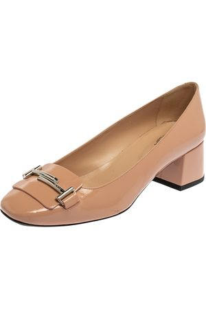 Tod's Pink Patent Leather T Loafer Pumps Size 39
