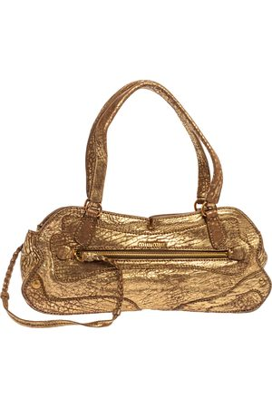 Miu Miu Gold Textured Leather Pocket Zip Shoulder Bag