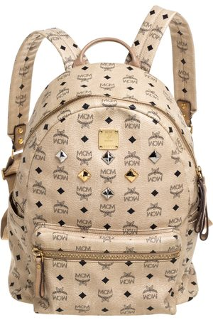 MCM Light Beige Visetos Coated Canvas and Leather Studded Stark Backpack