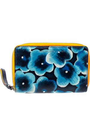 Marc Jacobs Blue Printed Leather Sophisticato Wingman Wristlet Wallet