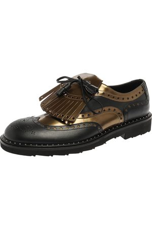 Dolce & Gabbana Dolce and Gabbana Black/Olive Patent Leather And Leather Brogue Detail Fringe Derby Oxfords Size 41