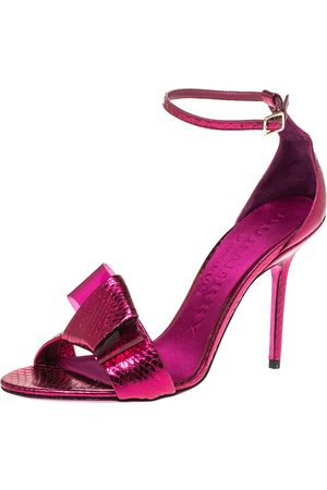 Burberry Fuchsia Pink Python Leather Bow Ankle Strap Sandals Size 37.5