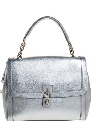 Dolce & Gabbana Dolce and Gabbana Silver Leather Small Miss Dolce Top Handle Bag