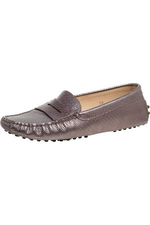 Tod's Metallic Brown Leather Penny Slip On Loafers Size 36