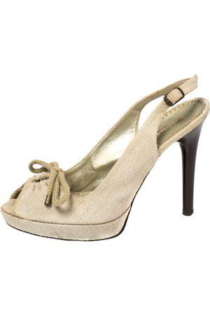 Stella McCartney White Canvas Bow Peep Toe Slingback Sandals Size 39