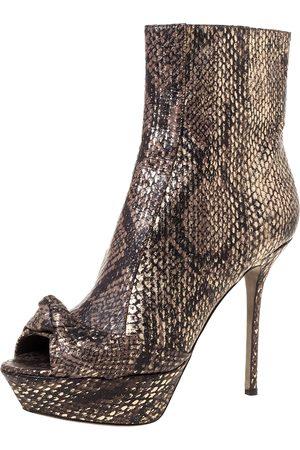 Sergio Rossi Multicolor Snakeskin Knot Peep Toe Platform Ankle Booties Size 39.5