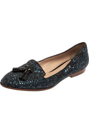 Miu Miu Blue Glitter And Leather Tassel Smoking Loafer Size 38.5