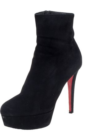 Christian Louboutin Black Suede Bianca Platform Ankle Booties Size 36.5