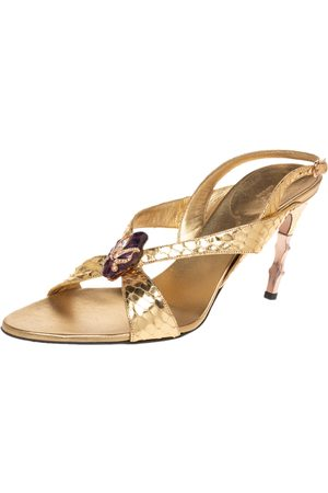 Gucci X Tom Ford Metallic Gold Python Snake-head Embellished Slingback Sandals Size 40.5