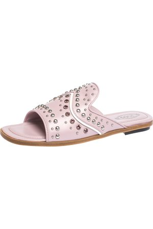 Tod's Pink Studded Leather Flat Slides Size 37.5