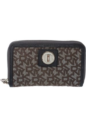 DKNY Brown/Black Monogram Canvas and Leather Zip Around Wallet