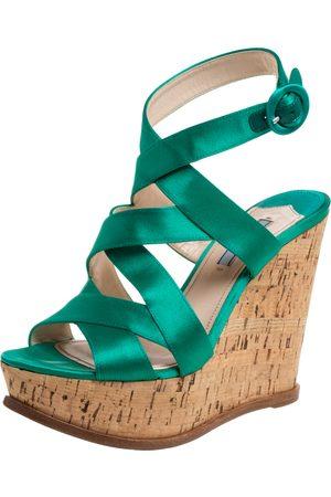 Prada Emerald Green Satin Criss Cross Cork Wedge Sandals Size 39