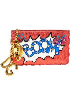 Dolce & Gabbana Metallic Red Leather Boom Patch Coin Purse
