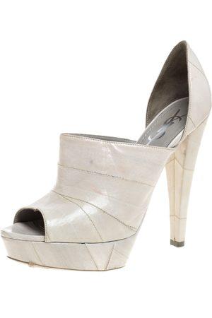 Saint Laurent Grey Leather D'orsay Peep Toe Platform Sandals Size 37.5