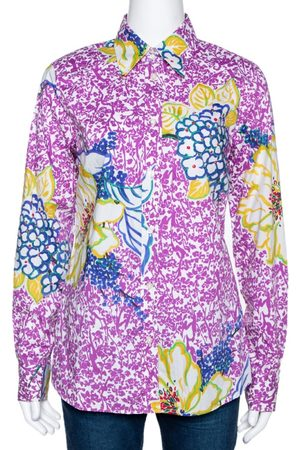 Etro Purple Floral Print Stretch Cotton Long Sleeve Shirt L