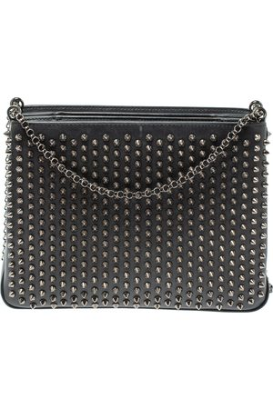 Christian Louboutin Black Leather Large Triloubi Spiked Shoulder Bag