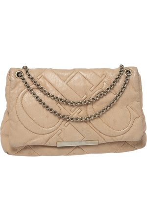 Carolina Herrera Beige Leather Flap Chain Shoulder Bag