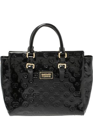 Gianfranco Ferré Signature Embossed Patent Leather Buckle Handle Tote