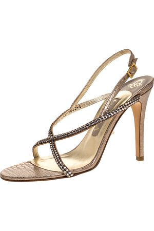 Gina Metallic Pink Embossed Leather Astor Cross Ankle Strap Sandals Size 38
