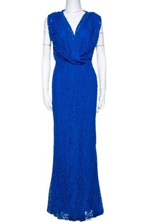 CH Carolina Herrera Cobalt Blue Floral Lace Draped Gown S