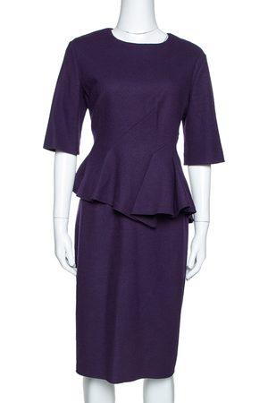 CH Carolina Herrera Purple Wool Peplum Dress L