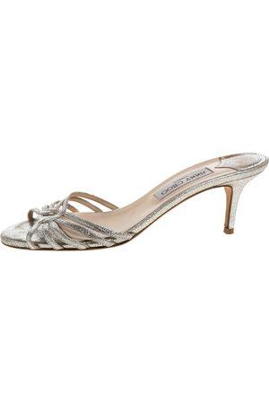 Jimmy Choo Silver Crackle Foil Leather Strappy Slide Sandals Size 38.5