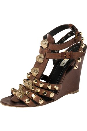 Balenciaga Brown Leather Arena Cage Wedge Sandals Size 39