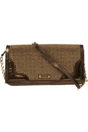 Burberry Metallic Bronze Studded Leather and Suede Flap Shoulder Bag