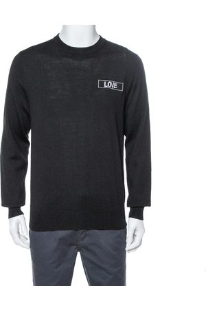 Givenchy Black Wool Love Embroidered Crewneck Sweater XXL