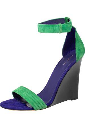 Céline Cèline Gree/Blue Suede Ankle Strap Wedge Sandals Size 40