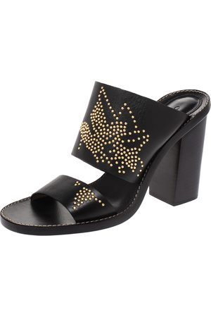 Chloé Black Studded Leather Slide Sandals Size 38.5