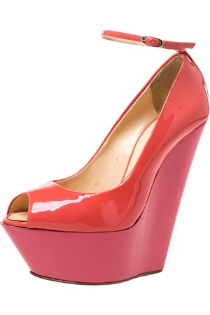 Giuseppe Zanotti Pink/Orange Patent Leather Ankle Strap Platform Wedge Pumps Size 36