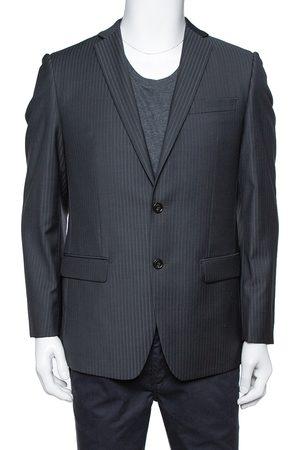 Balmain Charcoal Grey Pinstriped Wool Slim Fit Blazer M