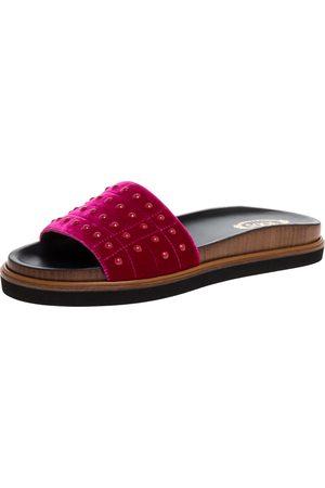 Tod's Red Velvet Studded Flat Slides Size 40