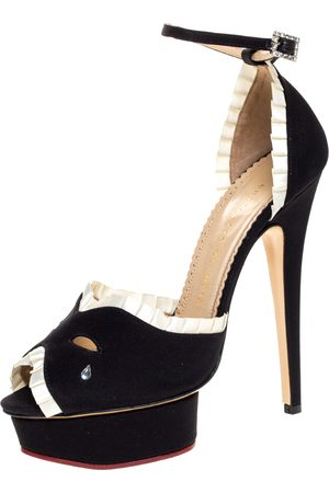 Charlotte Olympia Black/White Satin Masquerade Ankle Strap Platform Sandals Size 39