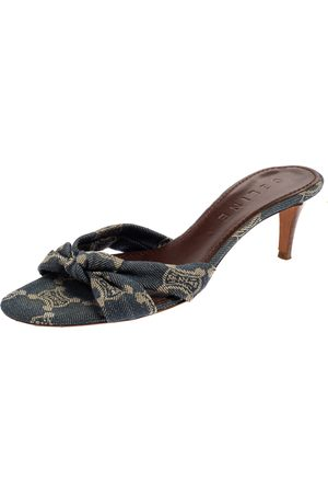 Céline Denim Fabric Knot Open Toe Slide Sandals Size 37.5