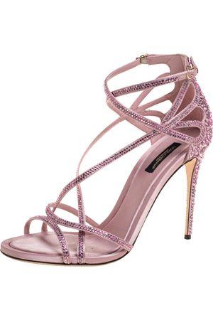 Dolce & Gabbana Pink Satin Crystal Embellished Strappy Open Toe Sandals Size 38.5