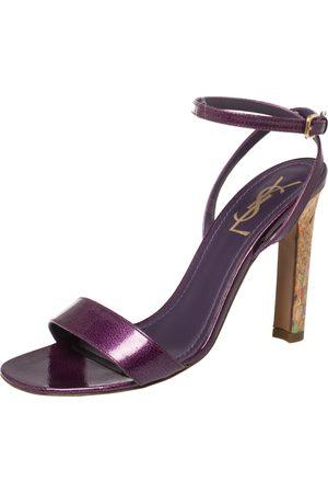 Saint Laurent Saint Laurent Purple Textured Patent Leather Cork Heel Ankle Wrap Sandals Size 37.5