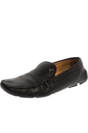 Armani Black Embossed Leather Slip On Loafers Size 44